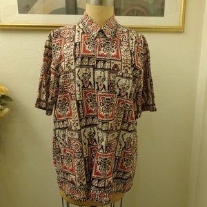 Vintage Tribal Print Short Sleeve Shirt